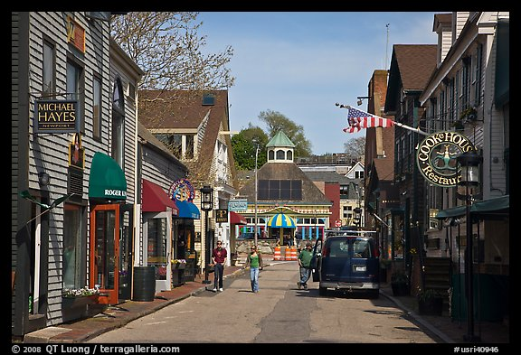 Area of shops near harbor. Newport, Rhode Island, USA (color)