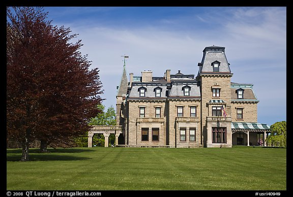 Chateau-sur-Mer mansion in Victorian style, viewed from lawn. Newport, Rhode Island, USA (color)