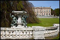 Statues and mansion in French eighteenth-century style. Newport, Rhode Island, USA (color)