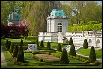 Pavilions and formal garden, The Elms. Newport, Rhode Island, USA