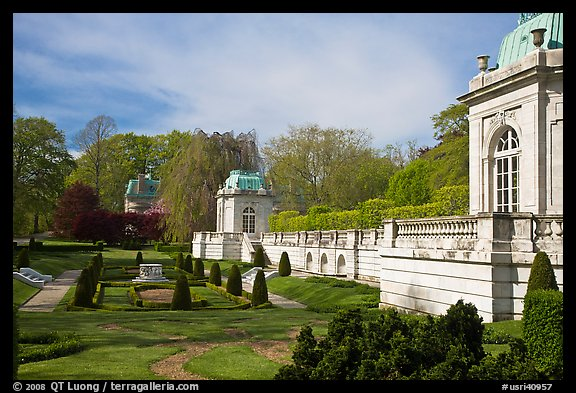 Sunken garden and pavilions, The Elms. Newport, Rhode Island, USA (color)