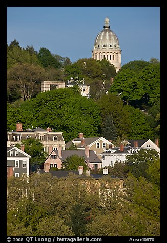 Forested hill, houses and dome. Providence, Rhode Island, USA