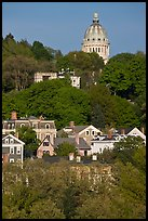 Forested hill, houses and dome. Providence, Rhode Island, USA (color)