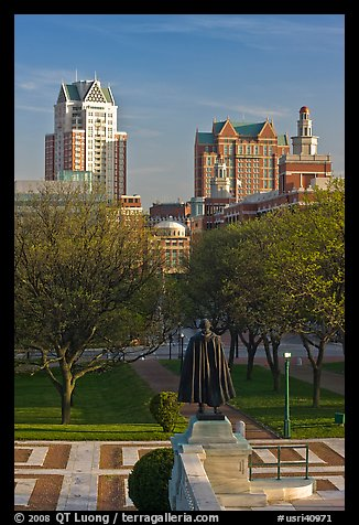 Statue of State House grounds and downtown buildings. Providence, Rhode Island, USA