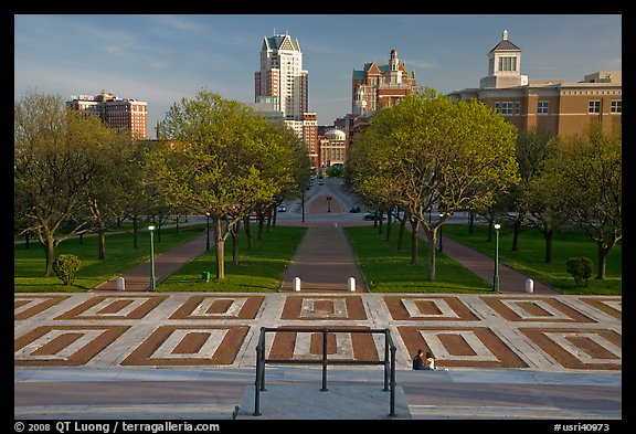 Gardens of State House with couple sitting on stairs. Providence, Rhode Island, USA (color)