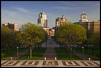 Gardens of State House and downtown high-rise buildings. Providence, Rhode Island, USA (color)