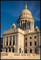 Rhode Island Capitol in neo-classical style, late afternoon. Providence, Rhode Island, USA (color)