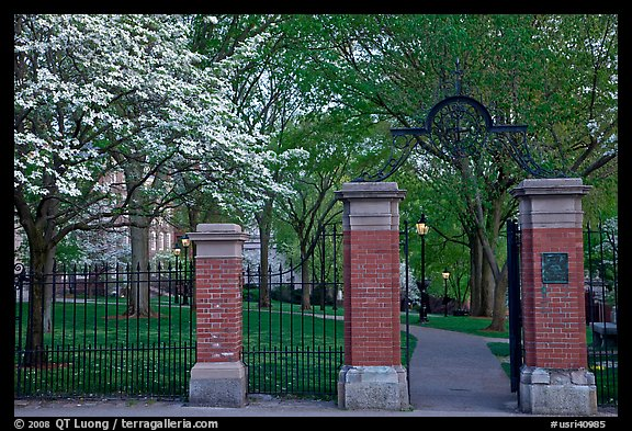 Entrance to grounds of Brown University in the spring. Providence, Rhode Island, USA (color)