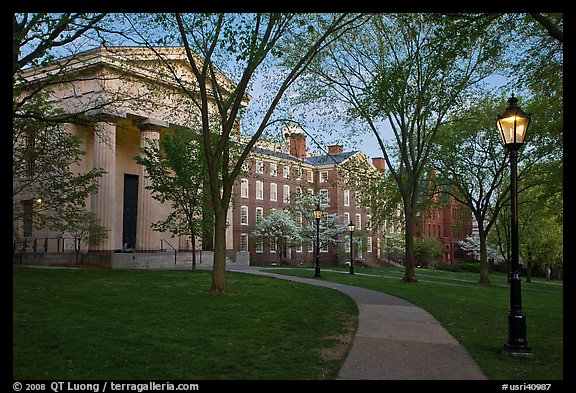 Manning Hall, University Hall, and Slater Hall  at dusk. Providence, Rhode Island, USA (color)