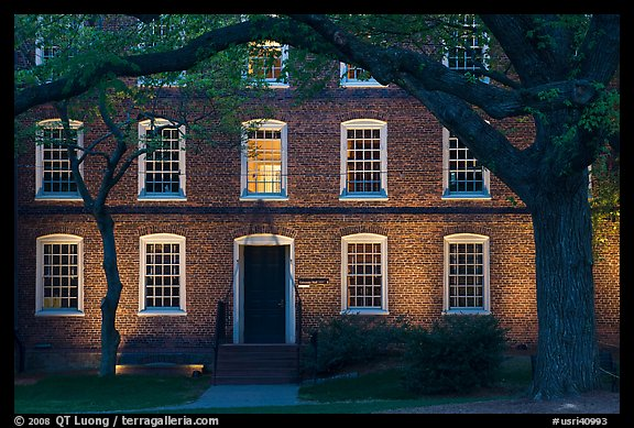 Tree and brick building at dusk, Brown University. Providence, Rhode Island, USA (color)