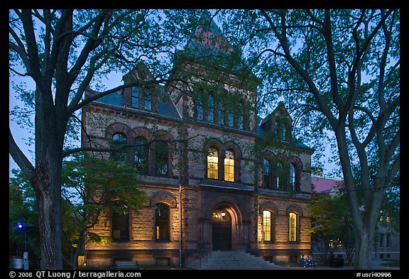 Sayles Hall framed by trees at dusk, Brown University. Providence, Rhode Island, USA