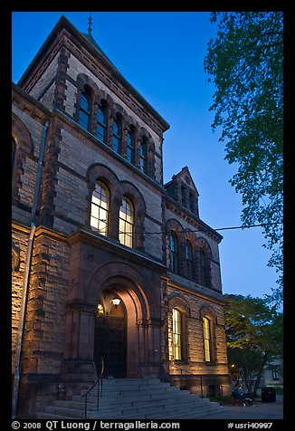 Sayles Hall (1881) at dusk, Brown University. Providence, Rhode Island, USA