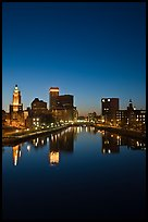 Providence Skyline and Seekonk river at dusk. Providence, Rhode Island, USA ( color)