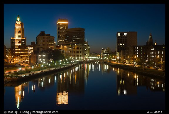 Providence Skyline at night. Providence, Rhode Island, USA (color)