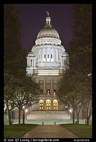 Rhode Island State House at night. Providence, Rhode Island, USA