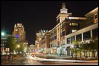 Street in downtown at night. Providence, Rhode Island, USA ( color)