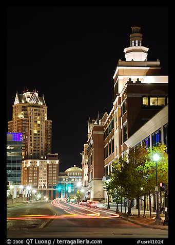 Downtown at night. Providence, Rhode Island, USA (color)