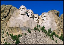 Monumental sculpture of US presidents carved in clif, Mount Rushmore National Memorial. South Dakota, USA