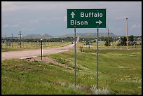 Sign pointing to Bison, Buffalo. South Dakota, USA (color)