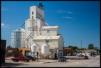 Main street with grain silo, Belle Fourche. South Dakota, USA (color)