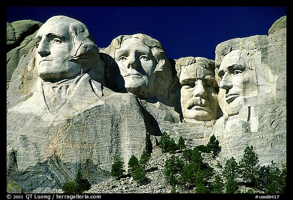 Faces of Four US Presidents carved in a cliff, Mt Rushmore National Memorial. South Dakota, USA (color)