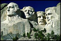 Faces of Four US Presidents carved in cliff, Mt Rushmore National Memorial. South Dakota, USA ( color)