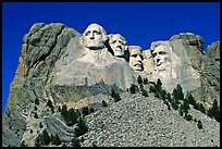 Borglum monumental sculpture of US presidents, Mount Rushmore National Memorial. South Dakota, USA (color)