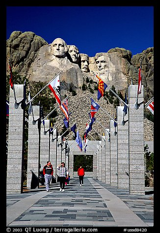 Alley of the Flags, with flags from each of the 50 US states, Mount Rushmore National Memorial. South Dakota, USA