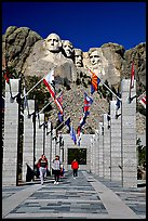 Alley of the Flags, with flags from each of the 50 US states, Mount Rushmore National Memorial. South Dakota, USA (color)