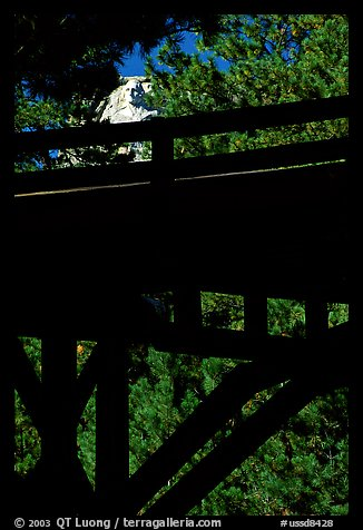 Distant view of Mt Rushmore through a bridge and trees. South Dakota, USA