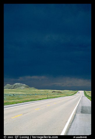 Storm cloud over road. South Dakota, USA (color)