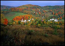 Village of East Corinth surrounded by fall colors, early morning. Vermont, New England, USA ( color)