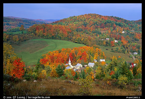 Village of East Corinth surrounded by fall colors, early morning. USA (color)