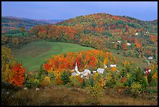 Village of East Corinth surrounded by fall colors, early morning. Vermont, New England, USA