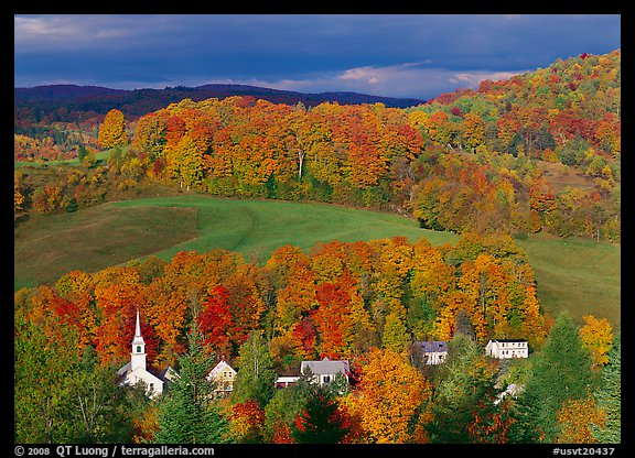 East Corinth village amongst trees in autumn color. Vermont, New England, USA (color)
