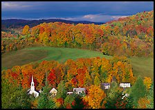 East Corinth village amongst trees in autumn color. Vermont, New England, USA