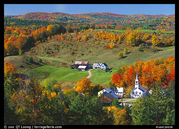 Church and farm in fall, East Corinth. Vermont, New England, USA (color)