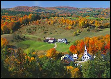 Church and farm in fall, East Corinth. Vermont, New England, USA ( color)