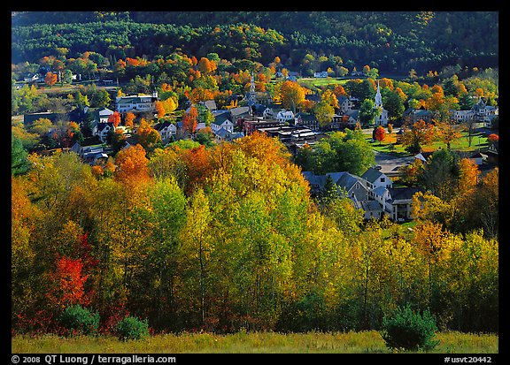 Village with trees in fall foliage. Vermont, New England, USA (color)