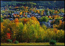 Village with trees in fall foliage. Vermont, New England, USA