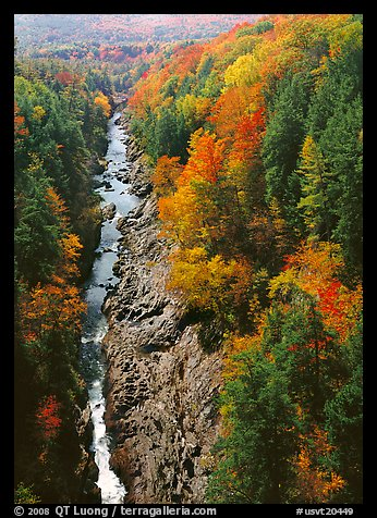 Quechee Gorge and river in the fall. Vermont, New England, USA (color)