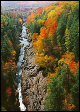 Quechee Gorge and river in the fall. Vermont, New England, USA