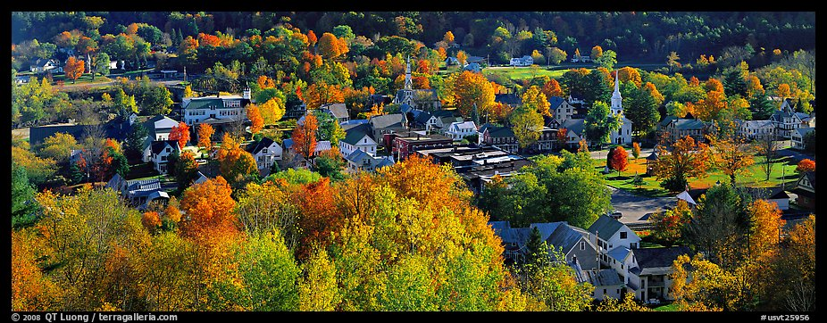 Vermont small town with trees in autumn colors. Vermont, New England, USA (color)