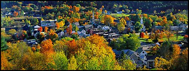 Vermont small town with trees in autumn colors. Vermont, New England, USA (Panoramic color)
