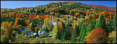 Rural autumn landscape, East Topsham. Vermont, New England, USA (Panoramic color)