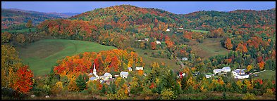 Rural autumn scenery, East Corithn. Vermont, New England, USA (Panoramic color)