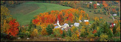 Vermont Village and hill in autumn, East Corithn. Vermont, New England, USA (Panoramic color)