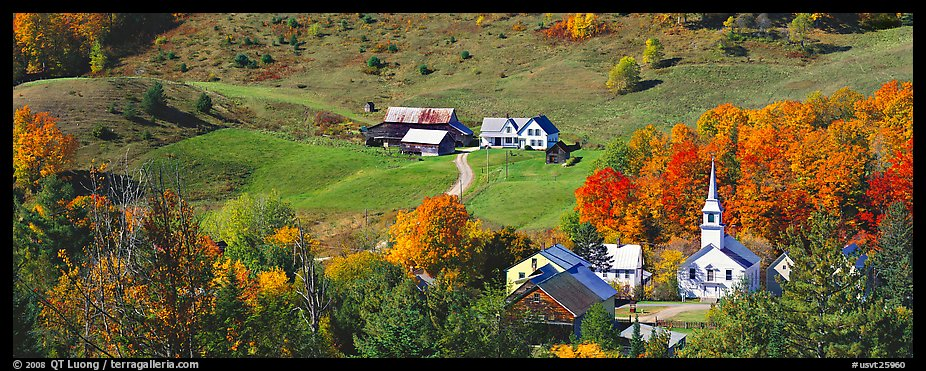 Rural landscape with village and fall colors, East Corithn. Vermont, New England, USA (color)