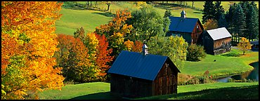 Pastoral barn scenery in autumn. Vermont, New England, USA (Panoramic color)