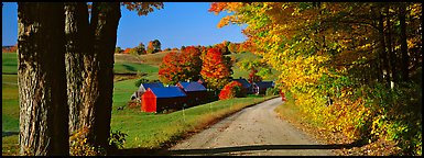 Pastoral view with road and farm in autumn. Vermont, New England, USA (Panoramic color)